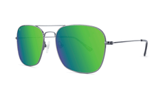 Sunglasses with Gunmetal Metal Frame and Polarized Green Moonshine Lenses, Threequarter