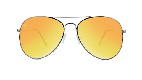 Knockaround Mile Highs Sunglasses with a Gunmetal Frame & Polarized Yellow Sunset Lenses, back
