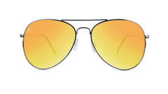 Knockaround Mile Highs Sunglasses with a Gunmetal Frame & Polarized Yellow Sunset Lenses, Front