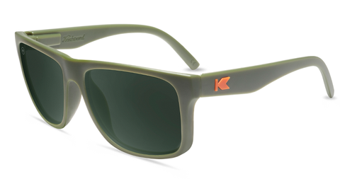 Sunglasses with Matte Army Green Frames and Polarized Green Lenses, Flyover