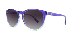 Sunglasses with Indigo Sky Frames and Polarized Smoke Gradient Lenses, Threequarter