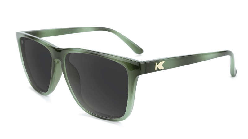 Sunglasses with Jade Lagoon Frames and Polarized Smoke Lenses, Flyover
