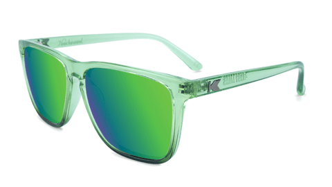 Sunglasses with Glossy Juniper Fade Frames and Polarized Green Moonshine Lenses, Flyover
