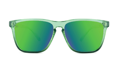 Sunglasses with Glossy Juniper Fade Frames and Polarized Green Moonshine Lenses, Front