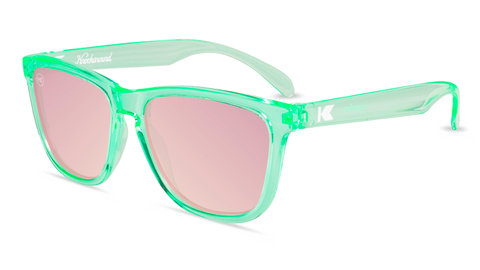 Sunglasses with Green Frame and Polarized Pink Lenses, Flyover