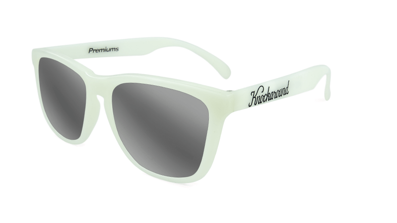 Sunglasses with Glow In The Dark Frame and Silver Smoke Lenses, Flyover