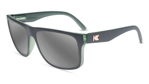 Sunglasses with Matte Grey Frames and Polarized Silver Smoke Lenses, Flyover