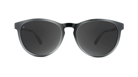 Sunglasses with Black and Grey Frames and Polarized Black Smoke Lenses, Back