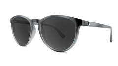 Sunglasses with Black and Grey Frames and Polarized Black Smoke Lenses, Threequarter