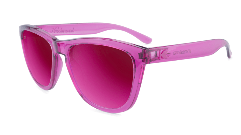 Sunglasses with Magenta Frames and Polarized Magenta Lenses, Flyover