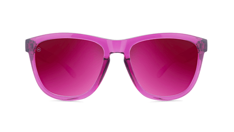 Sunglasses with Magenta Frames and Polarized Magenta Lenses, Back