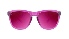 Sunglasses with Magenta Frames and Polarized Magenta Lenses, Front