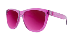 Sunglasses with Magenta Frames and Polarized Magenta Lenses, Threequarter