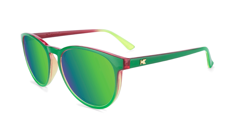 Sunglasses with Mango Geode Frames and Polarized Green Moonshine Lenses, Flyover