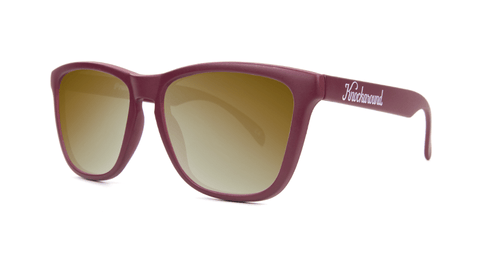 Sunglasses with Maroon frames and Gold Lenses, Back