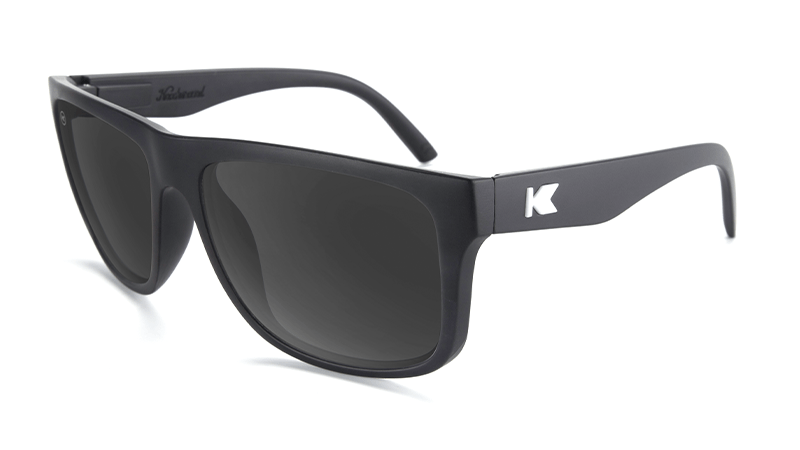 Sunglasses with Matte Black Frames and Polarized Black Smoke Lenses, Flyover