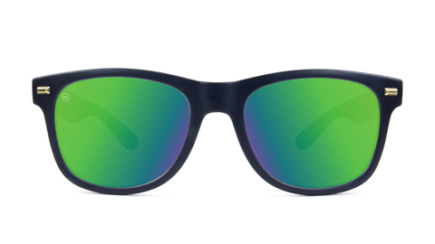 Fort Knocks Sunglasses with Matte Black Frames and Green Moonshine Mirrored Lenses, Back