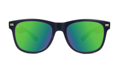 Fort Knocks Sunglasses with Matte Black Frames and Green Moonshine Mirrored Lenses, Front