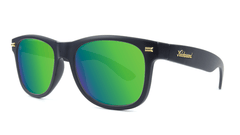 Fort Knocks Sunglasses with Matte Black Frames and Green Moonshine Mirrored Lenses, Threequarter