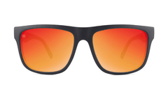 Sunglasses with Matte Black Frames and Polarized Red Sunset Lenses, Front