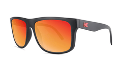 Sunglasses with Matte Black Frames and Polarized Red Sunset Lenses, Threequarter