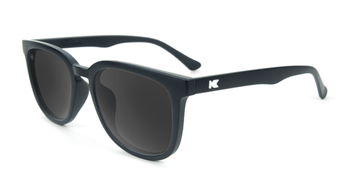 Sunglasses with Matte Black Frame and Polarized Smoke Lenses, Flyover