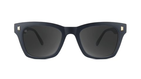 Sunglasses with Matte Black Frames and Polarized Smoke Lenses, Back