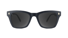 Sunglasses with Matte Black Frames and Polarized Smoke Lenses, Front