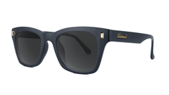 Sunglasses with Matte Black Frames and Polarized Smoke Lenses, Threequarter