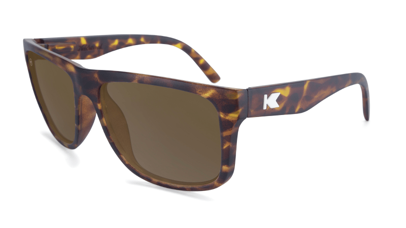 Sunglasses with Matte Tortoise Shell Frame and Polarized Amber Lenses, Flyover