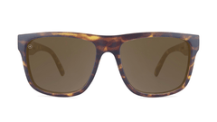 Sunglasses with Matte Tortoise Shell Frame and Polarized Amber Lenses, Front