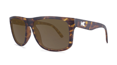 Sunglasses with Matte Tortoise Shell Frame and Polarized Amber Lenses, Threequarter