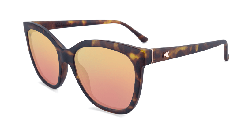 Sunglasses with Matte Tortoise Shell Frames and Polarized Rose Gold Lenses, Flyover