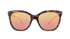 Sunglasses with Matte Tortoise Shell Frames and Polarized Rose Gold Lenses, Front