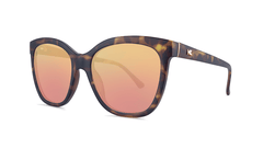 Sunglasses with Matte Tortoise Shell Frames and Polarized Rose Gold Lenses, Threequarter