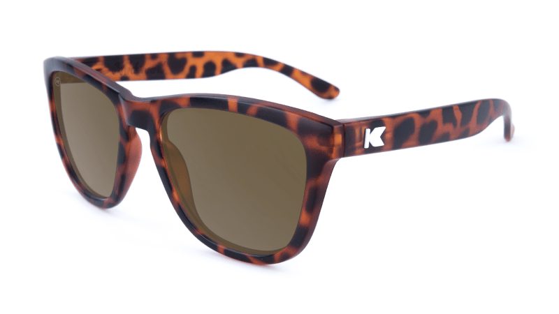 Premiums Sunglasses with Matte Tortoise Shell Frames and Brown Amber Lenses, Flyover