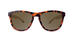Premiums Sunglasses with Matte Tortoise Shell Frames and Brown Amber Lenses, Front