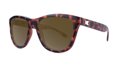 Premiums Sunglasses with Matte Tortoise Shell Frames and Brown Amber Lenses, ThreeQuarter
