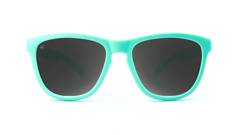 Premiums Sunglasses with Mint Green Frames and Black Smoke Lenses, Back