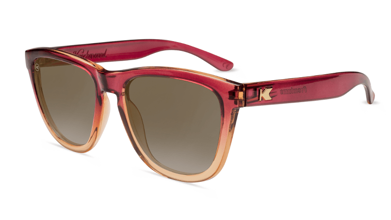 Sunglasses with Raspberry and Creme Beige Frames with Polarized Amber Lenses, Flyover