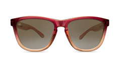 Sunglasses with Raspberry and Creme Beige Frames with Polarized Amber Lenses, Front