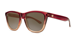 Sunglasses with Raspberry and Creme Beige Frames with Polarized Amber Lenses, Threequarter