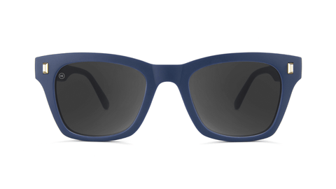 Sunglasses with Navy Blue Frames and Polarized Smoke Lenses, Back