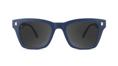 Sunglasses with Navy Blue Frames and Polarized Smoke Lenses, Front