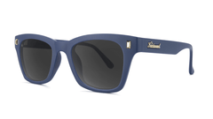 Sunglasses with Navy Blue Frames and Polarized Smoke Lenses, Threequarter