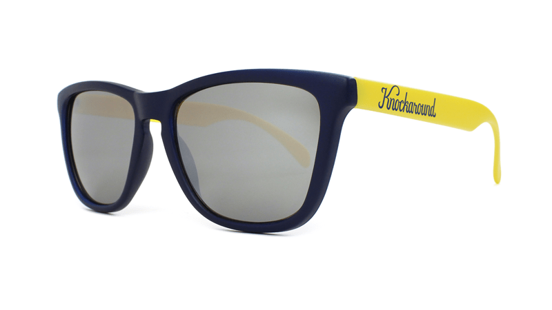 Knockaround Sunglasses Navy Blue and Yellow / Smoke Classics Threequarter