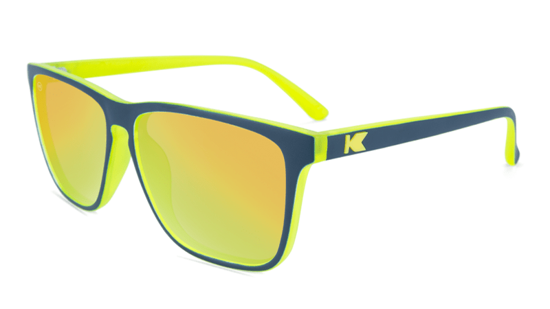 Sunglasses with Matte Navy and Yellow Geode Frames and Polarized Yellow Lenses, Flyover