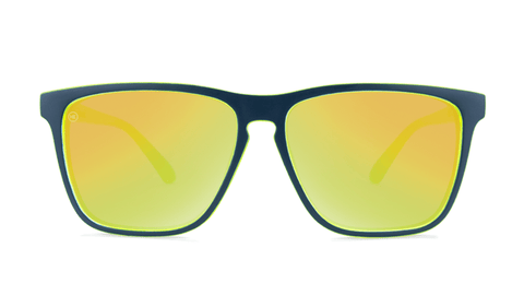 Sunglasses with Matte Navy and Yellow Geode Frames and Polarized Yellow Lenses, Back