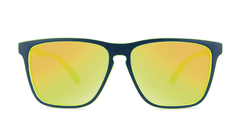 Sunglasses with Matte Navy and Yellow Geode Frames and Polarized Yellow Lenses, Front