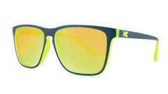 Sunglasses with Matte Navy and Yellow Geode Frames and Polarized Yellow Lenses, Threequarter